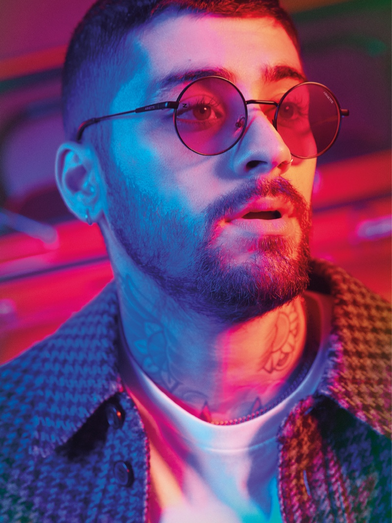 Channeling a psychedelic cool, Zayn rocks his favorite sunglasses from his Arnette eyewear collection, the Drophead.