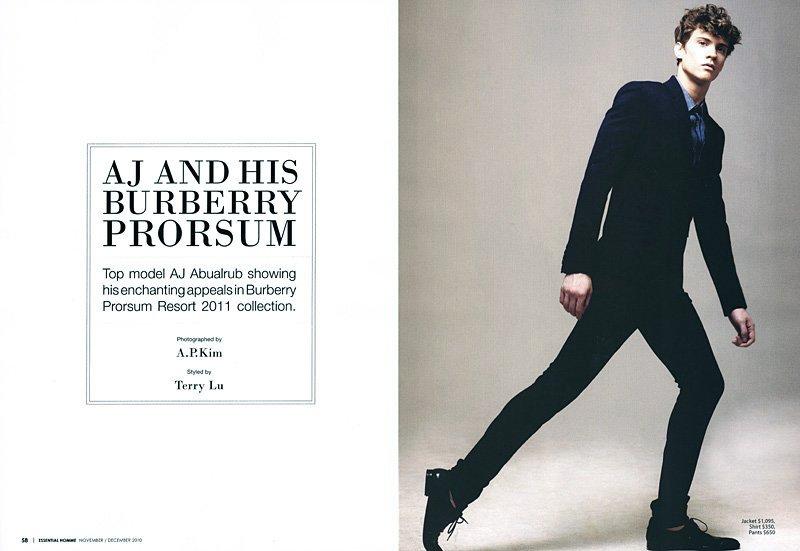 AJ Abualrub by A.P. Kim in Burberry Prorsum for Essential Homme