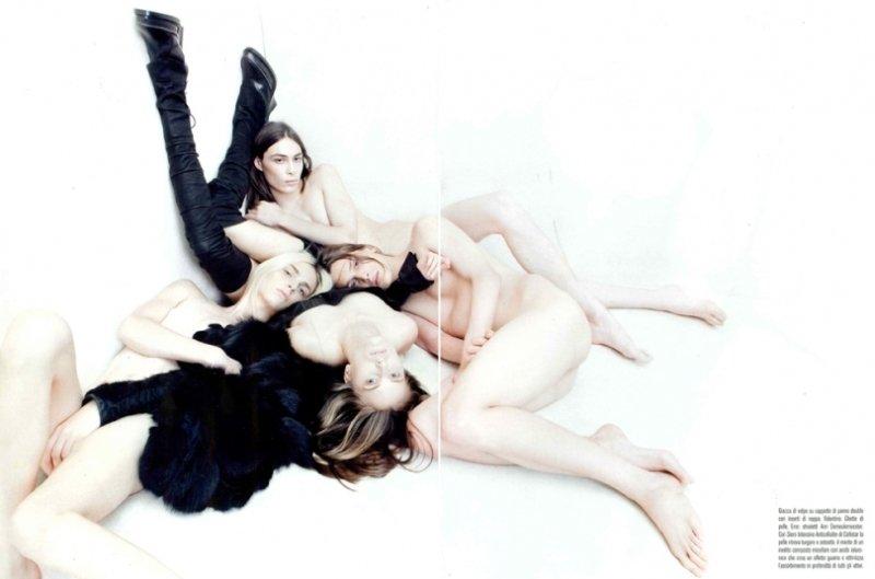 Andrej Pejic, Tomek Szczukiecki & Michael Tintiuc by Steven Meisel for Vogue Italia November 2010