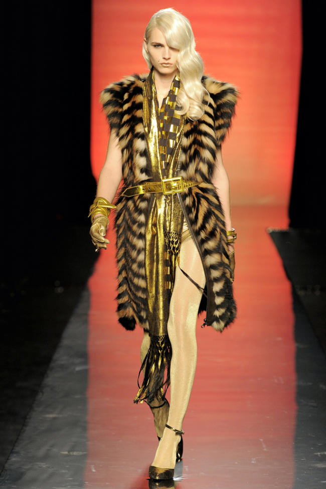 Andrej Pejic plays vixen to Jean Paul Gaultier's 007-inspired fall showing in January.